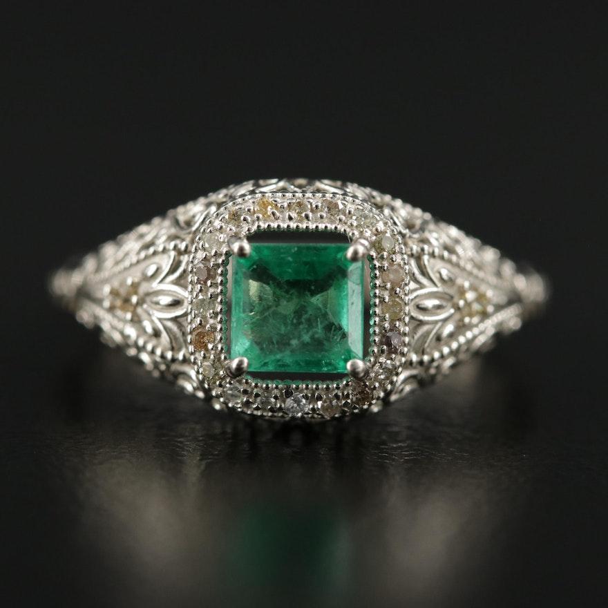 Art Deco 14K Emerald and Diamond Ring