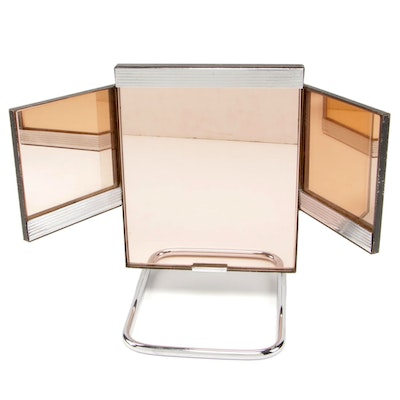 Art Deco Rose-Tinted Adjustable Vanity Mirror, Early to Mid-20th Century