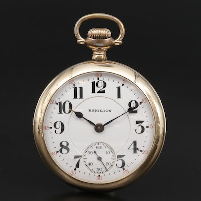 1922 Hamilton Gold Filled Railroad Grade Open Face Pocket Watch