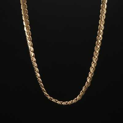 14K Gold Serpentine Link Chain Necklace