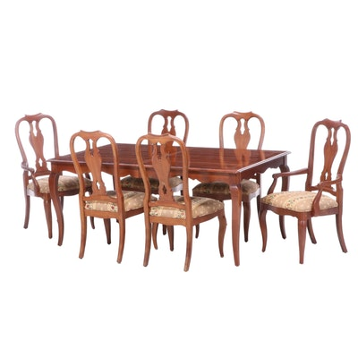 Ethan Allen French Provincial Style Walnut Seven-Piece Dining Set