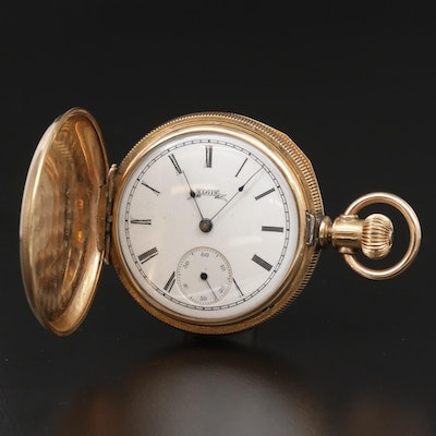 Antique Elgin 14K Gold Filled Hunting Case Pocket Watch, 1889