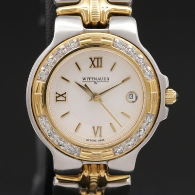 Wittnauer Two Tone Stainless Steel and Diamond Bezel Quartz Wristwatch