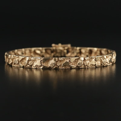 14K Yellow Gold Nugget Link Bracelet