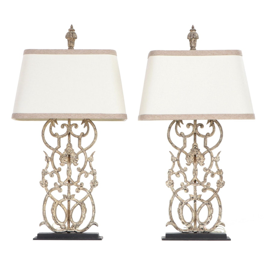 Pair of White Wrought Metal Table Lamps with Fabric Shades