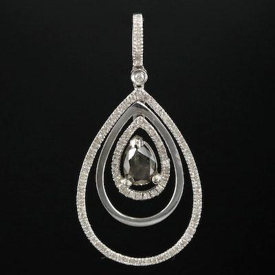 14K White Gold Diamond Teardrop Pendant