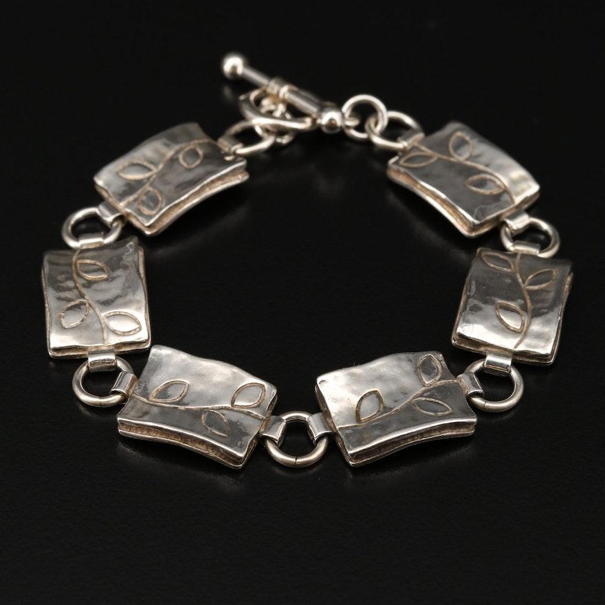 Sterling Silver Leaf Motif Panel Bracelet