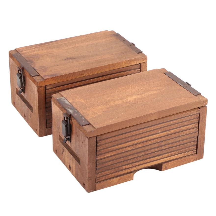 Handcrafted Wooden Storage Cabinets with Sliding Shelves