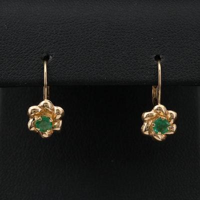 14K Yellow Gold Emerald Floral Drop Earrings