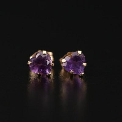 14K Yellow Gold Amethyst Heart Stud Earrings