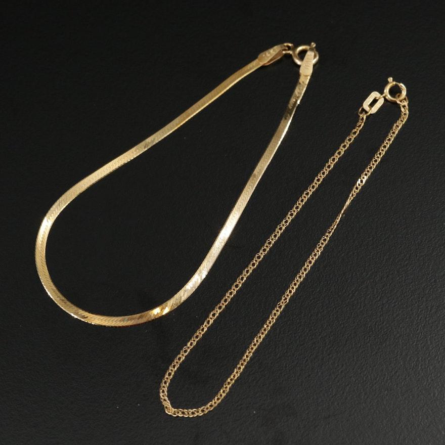 14K Yellow Gold Herringbone and Curb Chain Bracelets