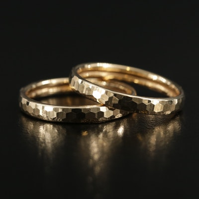 14K Yellow Gold Hammered Textured Bands