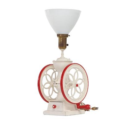 Enterprise Coffee Grinder Cast Metal Converted Lamp