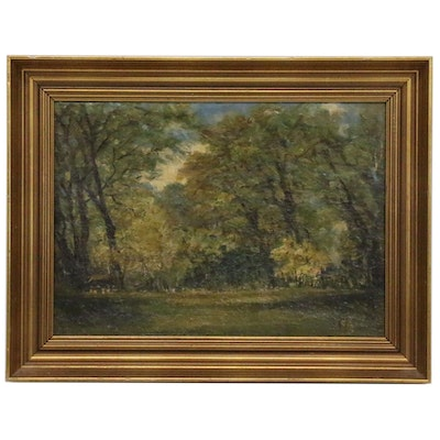 Forest Landscape Oil Painting, Late 19th to Early 20th Century