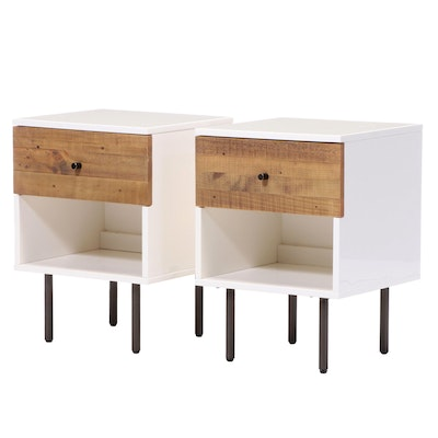 Pair of West Elm Reclaimed Wood and Lacquer One-Drawer Nightstands