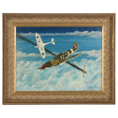 Tom Canakes Oil Painting of Dogfight, 1973