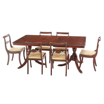 Duncan Phyfe Style Mahogany Seven-Piece Dining Set, First Half 20th Century