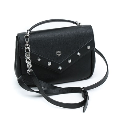 MCM Mini Catherine Studded Black Grained Leather Crossbody Bag