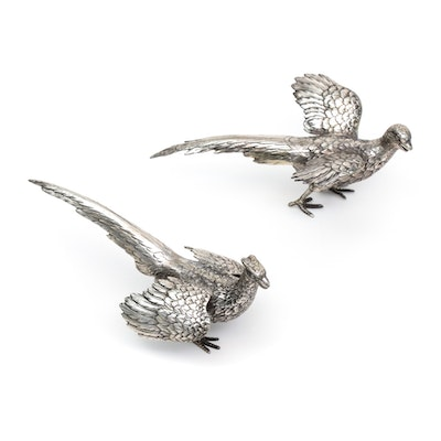 Pair of German Weighted Sterling Silver Figural Pheasants