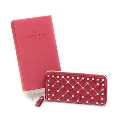 Valentino Garavani Studded Grid Red Leather Zip-Around Wallet with White Accents