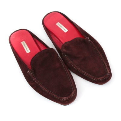 Hermès Paris Mahogany Suede Slip-On Loafers