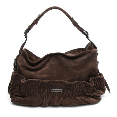 Burberry Elgin Shirred Brown Suede Shoulder Bag