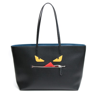 Fendi Black Saffiano Leather Monster Roll Tote Bag