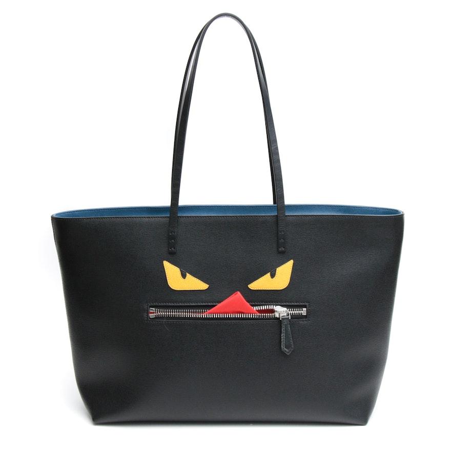 Fendi Black Saffiano Leather Monster Roll Tote Bag