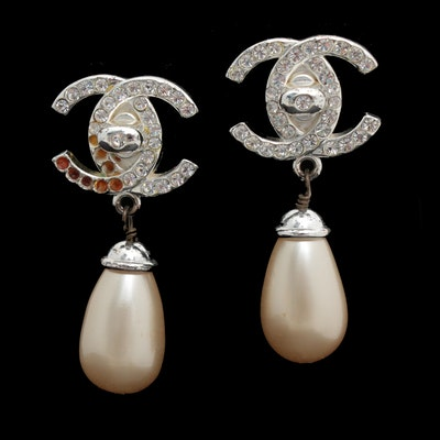 Chanel Silver Tone CC Imitation Pearl Drop Earrings