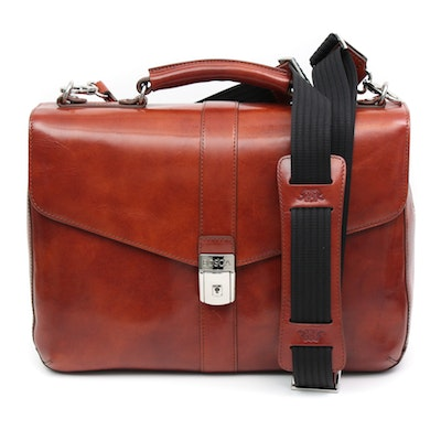 Bosca Cognac Leather Briefcase with Detachable Shoulder Strap