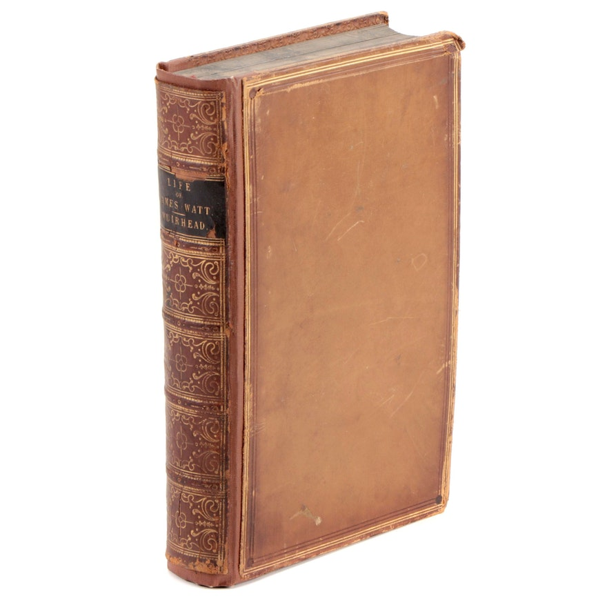 """1858 Leather Bound """"The Life of James Watt"""" by James P. Muirhead, Illustrated"""