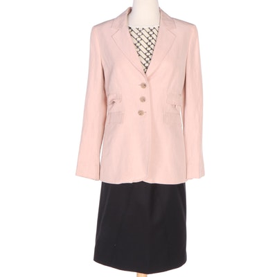 The J. Peterman Company Pink Jacket, Geometric Print Top and Black Pencil Skirt