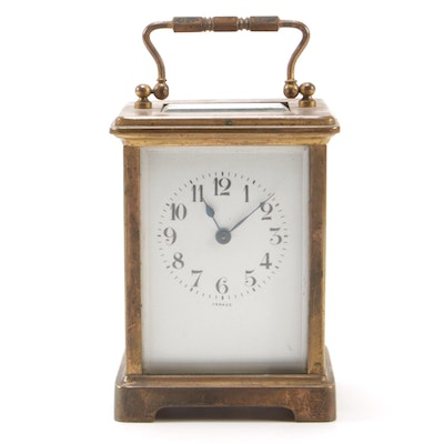 Charles Hour French Brass Carriage Clock, Late 19th/Early 20th Century
