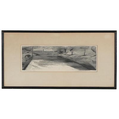 """Italian Abstract Relief Print """"Seba Nella Strada"""", 1956"""