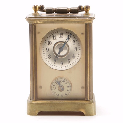 Brass Carriage Alarm Clock with Beveled Case, Late 19th/Early 20th Century