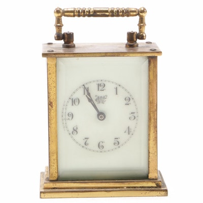 Westbury Clock Co. Brass and Beveled Glass Shelf Clock, Early 20th Century