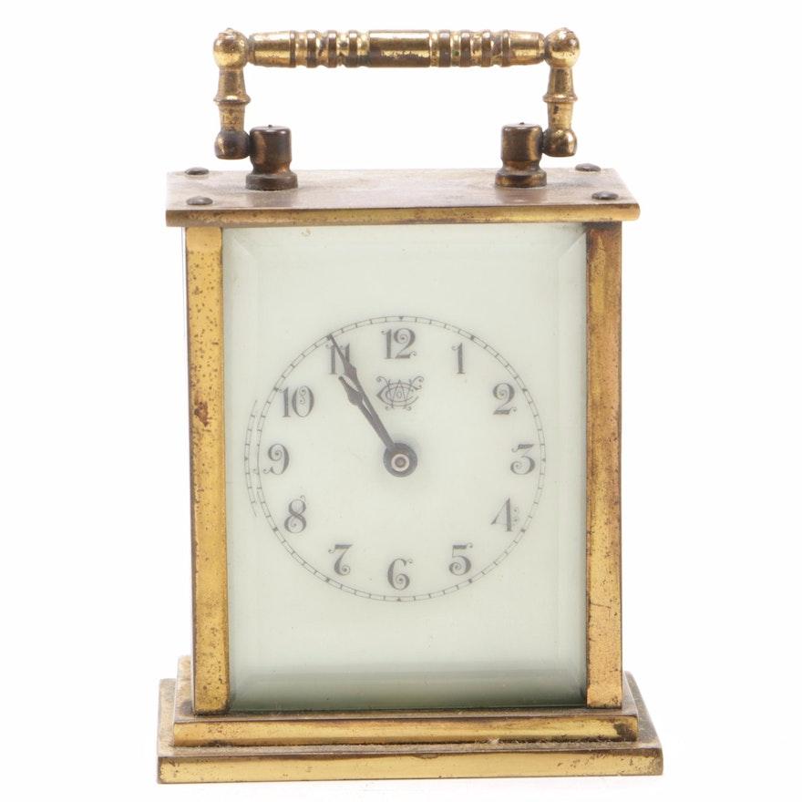 Westbury Clock Co. Brass and Beveled Glass Shelf Clock, Early 20th Century