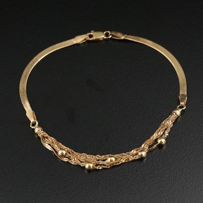 18K Gold Herringbone and Singapore Chain Bracelet