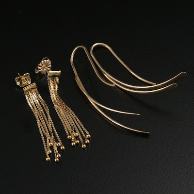14K and 18K Yellow Gold Tassel and Dangle Earrings