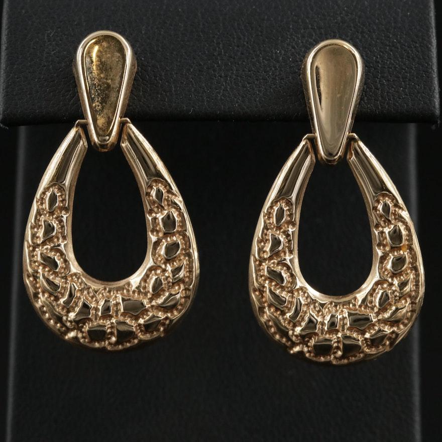 14K Yellow Gold Door Knocker Motif Earrings