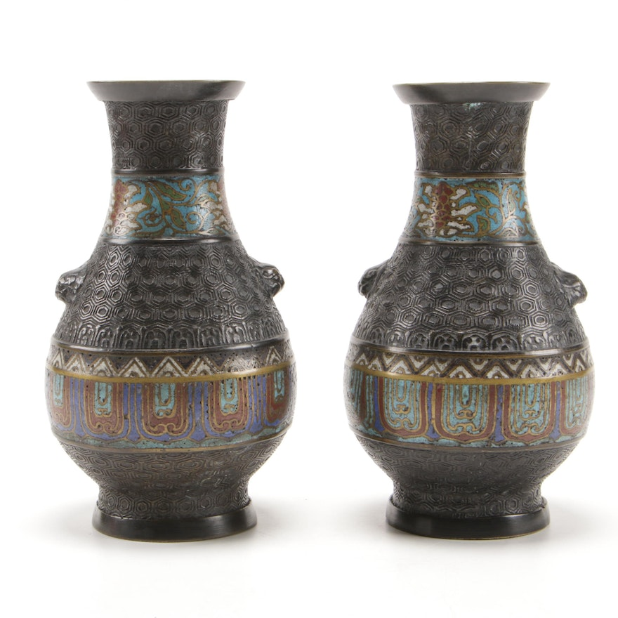 Japanese Champlevé Enamel over Bronze Baluster Vases, Early to Mid 20th Century