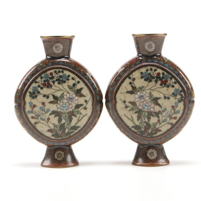Pair of East Asian Cloisonné Bud Vases, Early 20th Century