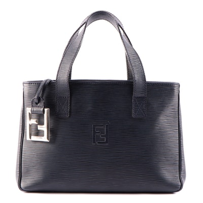 Fendi Midnight Blue Epi Embossed Leather Tote Bag