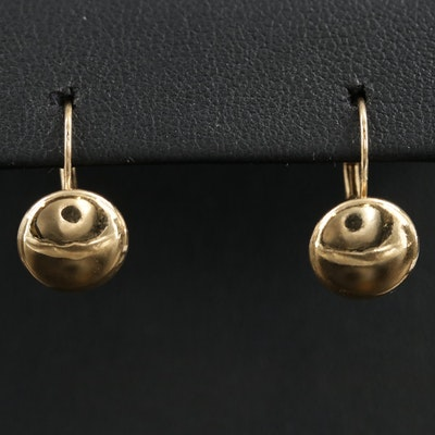 18K Yellow Gold Button Drop Earrings