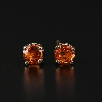 14K Gold Spessartine Garnet Stud Earrings