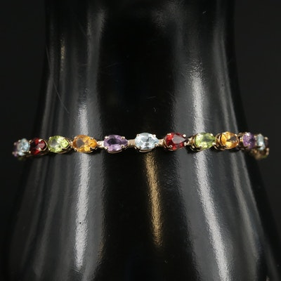 14K Yellow Gold Multi Color Gemstone Link Bracelet