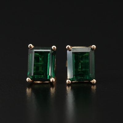 14K Yellow Gold Synthetic Spinel Stud Earrings