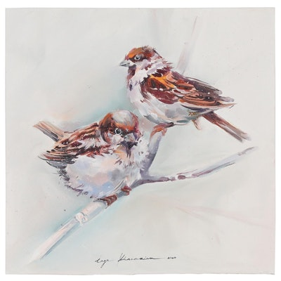 Inga Khanarina Oil Painting of Birds, 2020