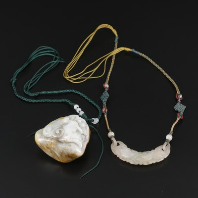 Asian Style Nephrite and Jadeite Pendant on Cord