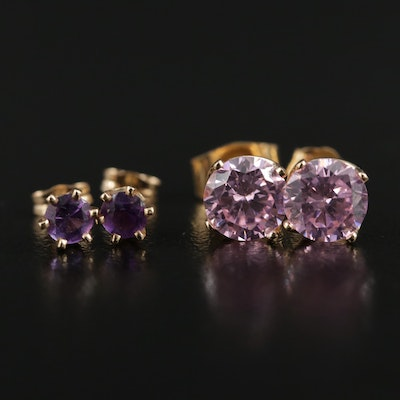 14K Yellow Gold Amethyst and Cubic Zirconia Stud Earrings